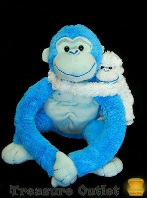 Animal Alley Toys R Us Stuffed Plush Blue Gorilla Monkey Ape With Baby
