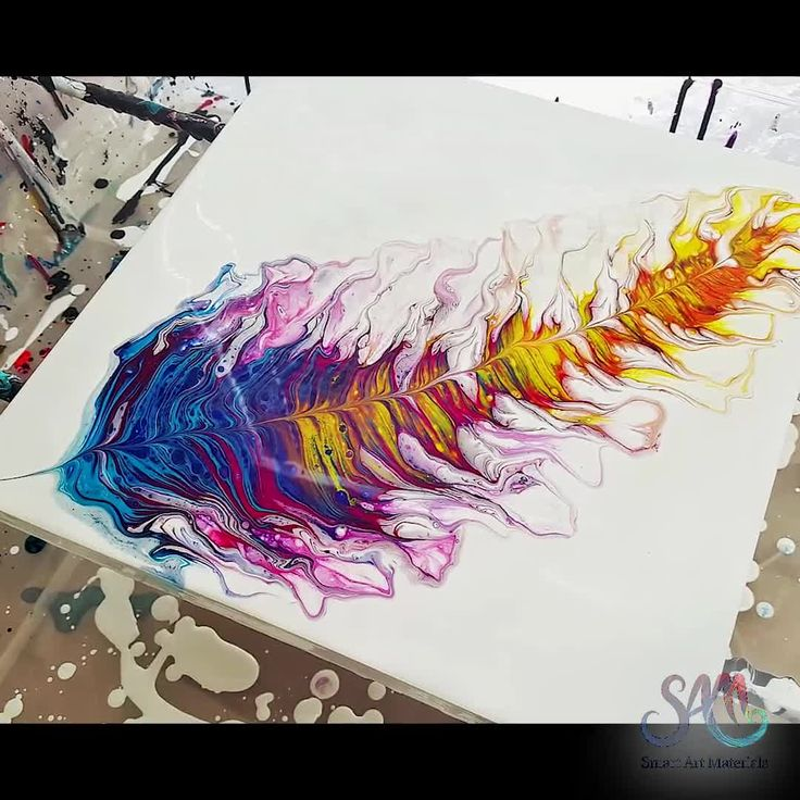 Acrylic Pour Feather Tutorial! Created with a Paint Kiss Technique by Olga Soby …