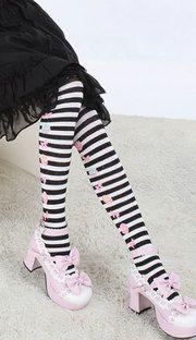 Macaroon and bow striped lolita thigh high socks