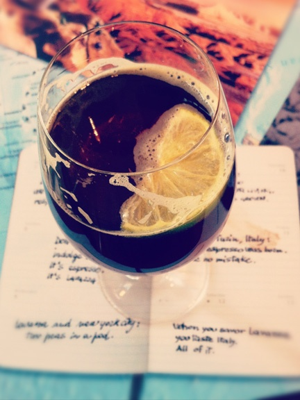 A Branca Cocktail from the Cafe at Eataly in NYC - Dry Vermouth, Prosecco, Chinotto soda drink. #food #drink #blog #eataly #cocktail