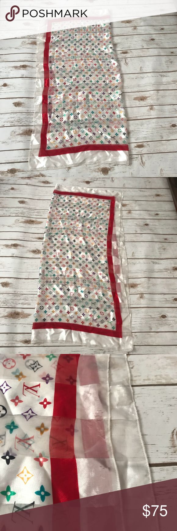 Large scarve Multi color scarf, purchased at a local boutique has a few snags, a some red thin stain I purchase this way.  Still has plenty of life can be used to wrap around a purse or used as a scarf Accessories Scarves & Wraps