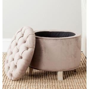 Safavieh Amelia White Mushroom Taupe Storage Ottoman-HUD8220Y - The Home Depot