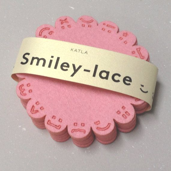 SMILEY-LACE coasters PINK by Katladesign on Etsy