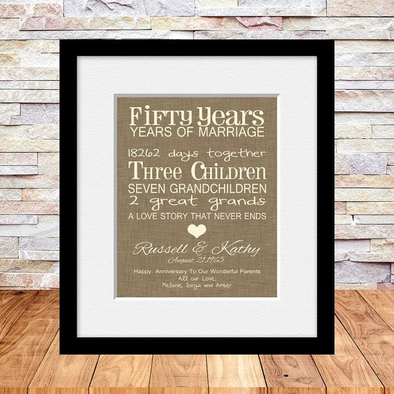 50th Anniversary Gift, Fun 50th Wedding Anniversary Print, Personalized Parent's Anniversary Gift, A Love Story That Never Ends, Typography