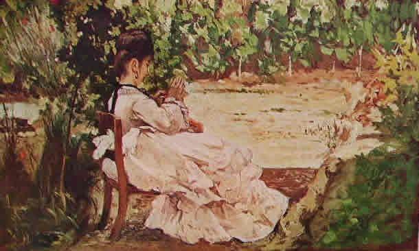 GIOVANNI FATTORI-Giovane signora che cuce in giardino, cm. 14,5 x 23,5 Firenze proprietà privata