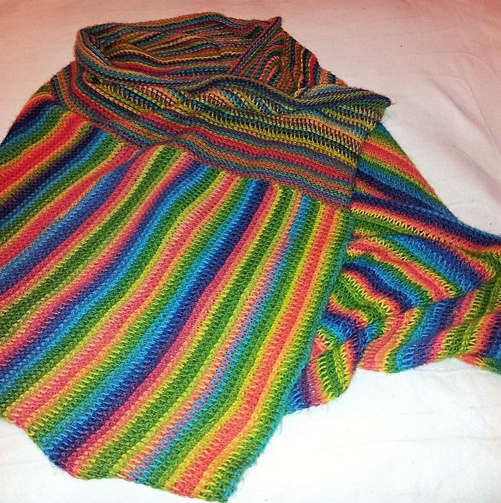Tunisian crochet wrap using Moda Vera