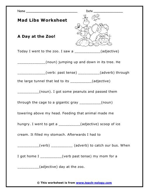 It's just a photo of Transformative Mad Libs Sheets