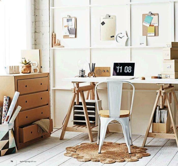 Sneak Peek | Real Living   Karton / cardboard dresser! Trestle desk...