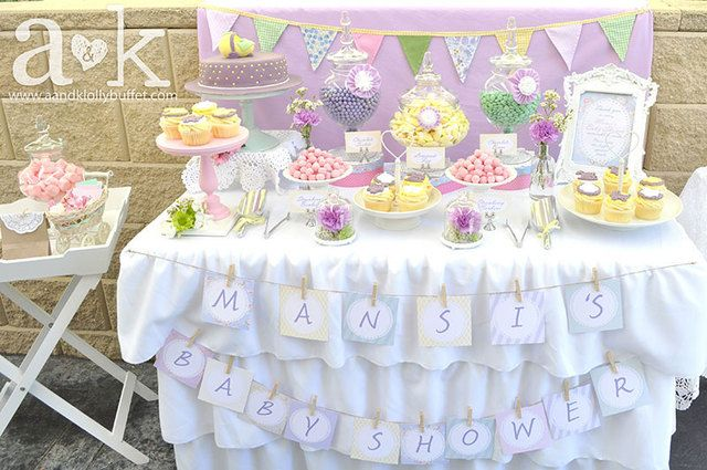 Love this theme at a pastel vintage baby shower!  See more party ideas at CatchMyParty.com!  #babyshower #partyideas