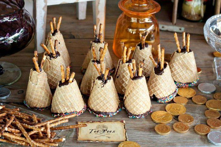 Neverland Tee Pees made out of ice cream cones dipped in chocolate----Image Only