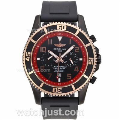 Perfect Replica Breitling Super Ocean Automatic PVD Case Red Inner Bezel with Black Dial -Rubber Strap