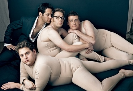 Vanity Fair's meta-spoof (of its previous cover with Tom Ford and naked Scarlett Johansson and Keira Knightley): Vanities Fair, Funny Guys, Paul Rudd, Jason Segel, Annie Leibovitz, Seth Rogen, Tom Ford, Jonah Hills, Funny Men