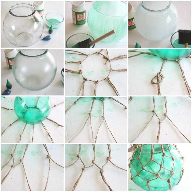 Pasos para decorar una botella con red de cuerda