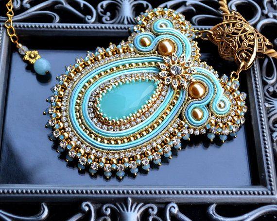 Big elegant soutache pendant necklace - colorful, bold and unusual - Gold Flower