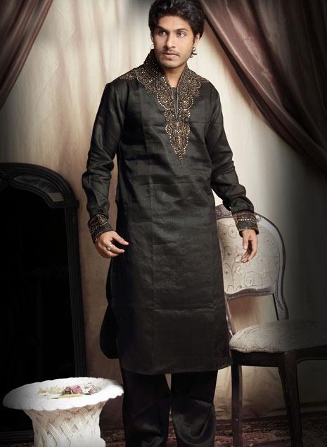 Black Art silk Embroidered Kurta Pajama