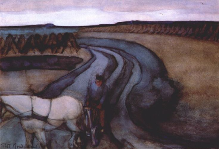 On the Land - Piet Mondrian, 1898, gouache. Gemeentemuseum, Den Haag