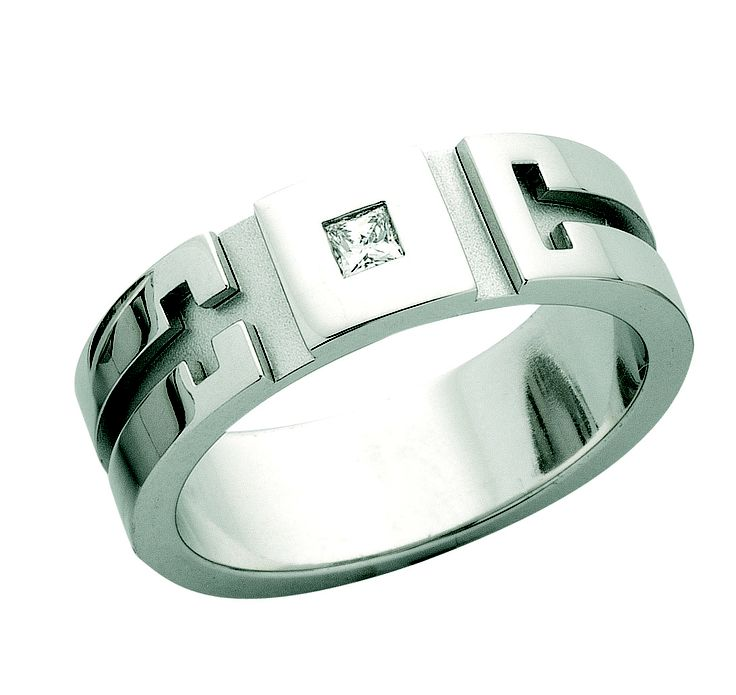 18ct white gold Gents ring with grooves and princess cut diamond! a beautiful idea fro Father's day :) design C480A