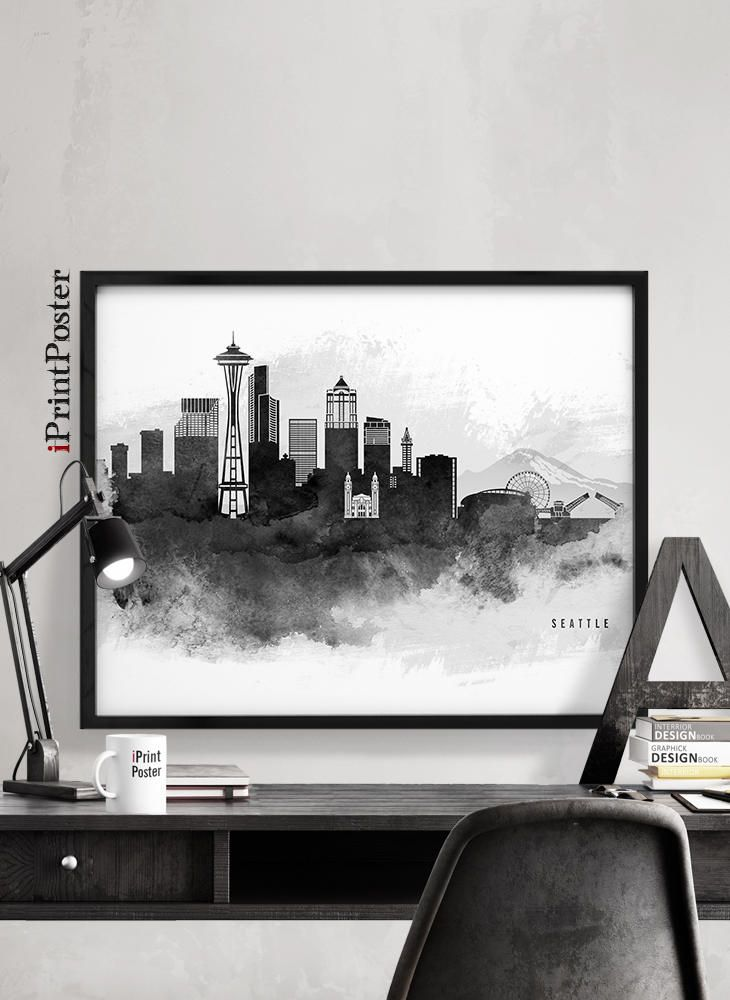 Seattle art print, Seattle poster, Seattle Washington wall art, home decor, black & white skyline, travel poster, city prints, iPrintPoster by iPrintPoster on Etsy