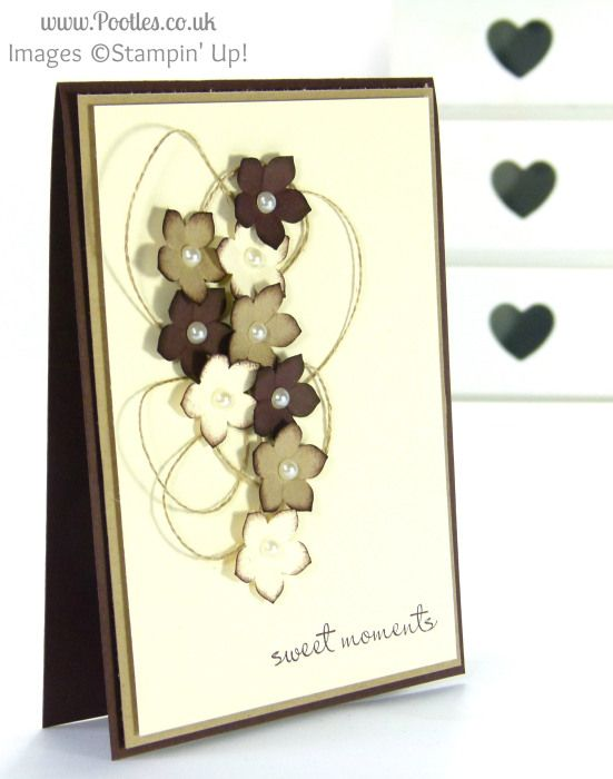 Pootles, Stampin Up UK Demonstrator - Chocolate and Cream Petite Petals Card (love the colors)