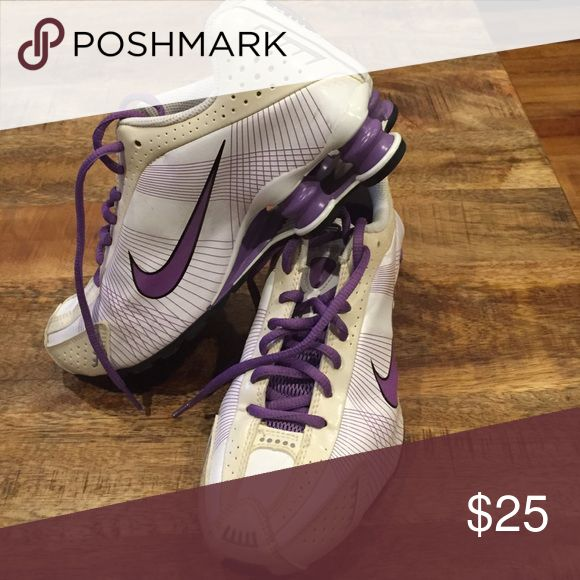 Nike shocks Purple and white Nike shocks used a couple of times and washed. Great for nurses or anyone on their feet all day. Shoes Sneakers