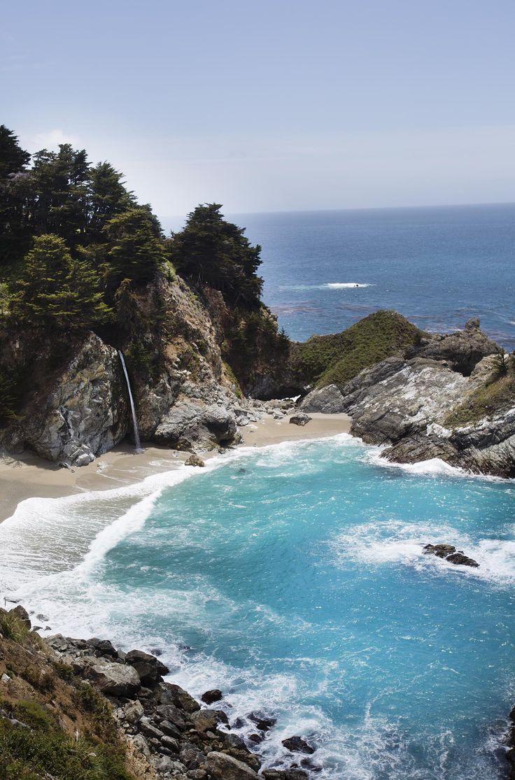 Ocean waterfall in Big Sur, CA