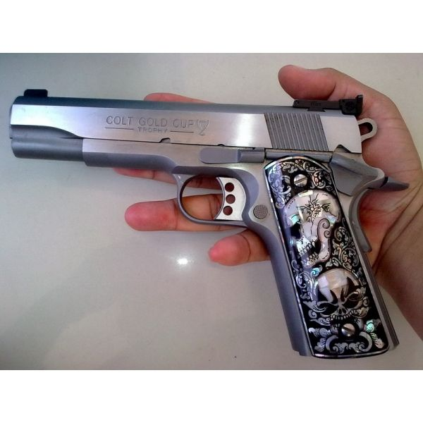 MOTHER OF PEARL INLAY GRIPS FIT SMITH&WESSON / TAURUS / SPRINGFIELD / KIMBER / COLT 1911,1991 #124