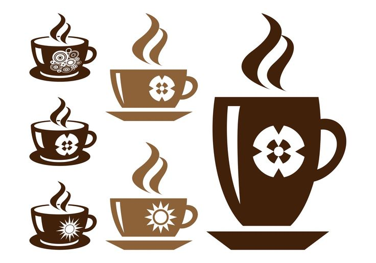 Caffeine and hot drinks vector graphics of cups of coffee or tea. Silhouettes of cups and mugs with different shapes and decorations. Coffee cups placed on dishes, steam coming out of the drinks inside and different decorations on the mugs – stylized images of flowers, circles and suns.