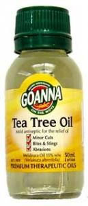 Goanna Tea Tree Oil - GOANNA 15% Tea Tree Oil is blended with alcohol to enhance its antiseptic properties. Contains melaleuca oil a natural mild antiseptic, germicide and fungicide.  It can be used for the relief of minor cuts, abrasions, bites, stings and minor burns.  Key features/benefits: Contains Melaleuca Oil (Melaleuca alternifolia) 15% w/w -- a natural germicide and fungicide, and isopropyl alcohol. Can be used as a mild antiseptic.
