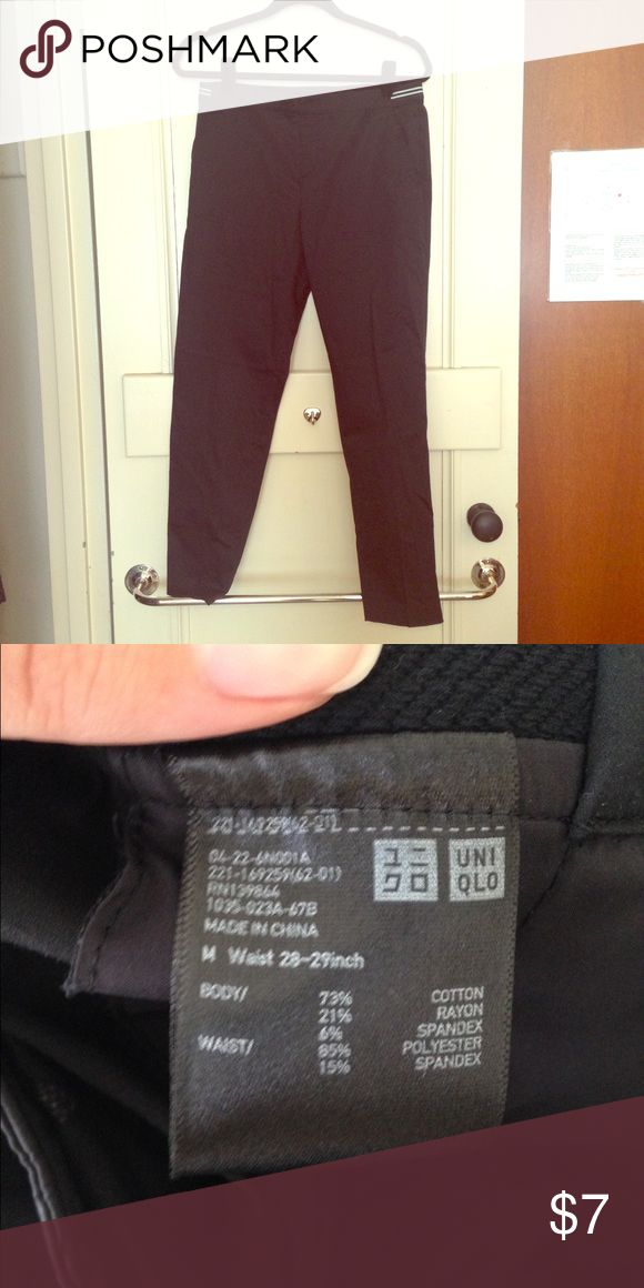 "Black Uniqlo Trousers Black trousers with stretchy waistband from Uniqlo. Ankle length. Waist sits at the hips. Size listed as ""M"", waist 28-29 inches. Uniqlo Pants Ankle & Cropped"