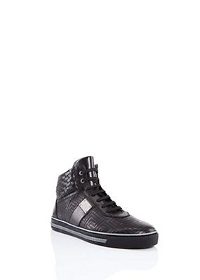 Versace - Embroidered Leather Sneakers