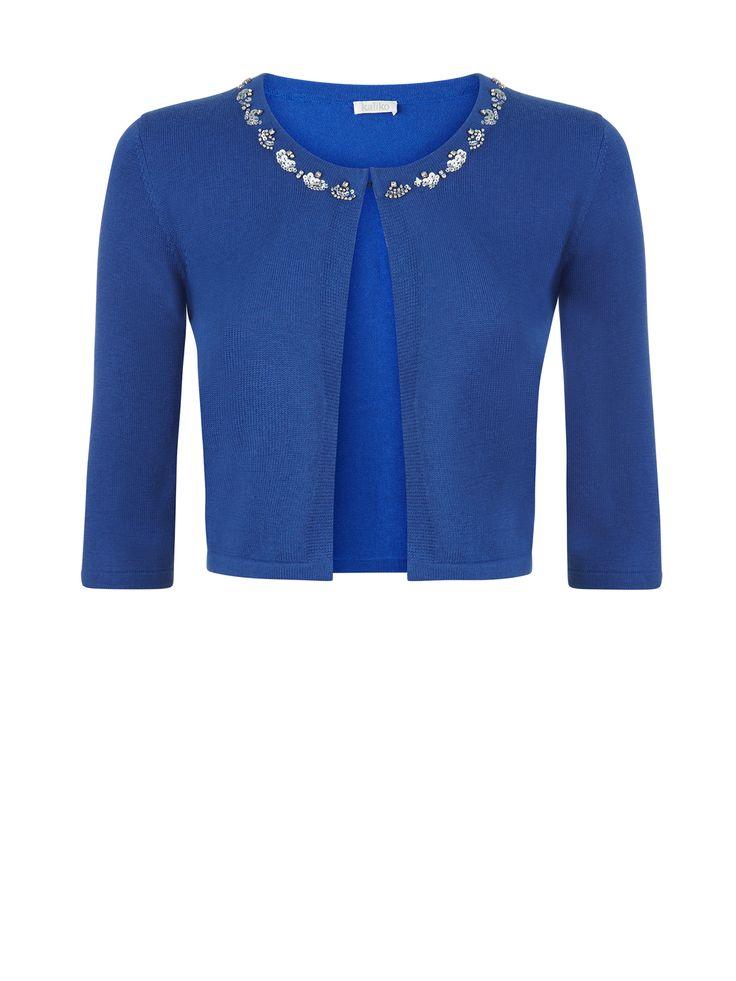 Now reduced to €39!! Blue shrug with sparkle embellished neckline €79.