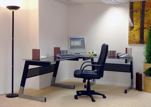 Glasschreibtisch Andre III - 2 Farben Zeitlos moderner Schreibtisch in 2 unterschiedlichen Farbvarianten erhältlich 1 x Schreibtisch mit Glasplatten ---> kann gegengleich aufgebaut...