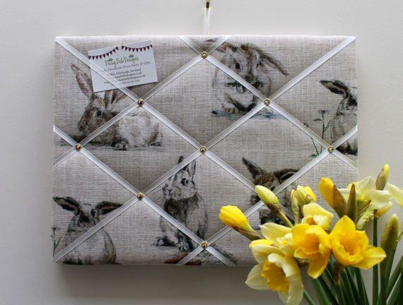 Memory Board  40cm x 30cm in Rabbit / Bunny by DaisyBelleShop