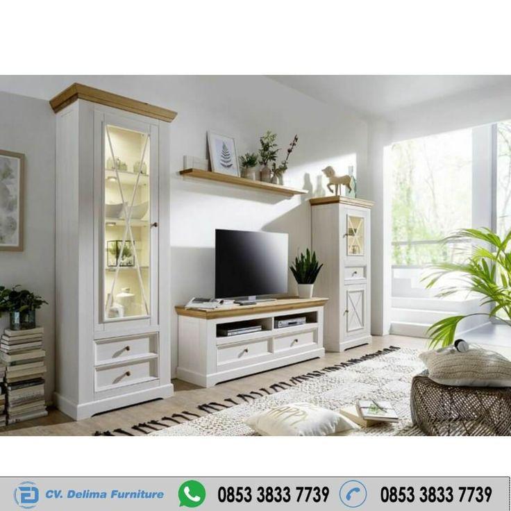 Jual Bufet Tv Hias Minimalis Boutique Putih Harga Murah CV