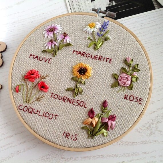 Mixed flowers embroidery hoop art, 3D floral hanging, framed picture of hand dye…