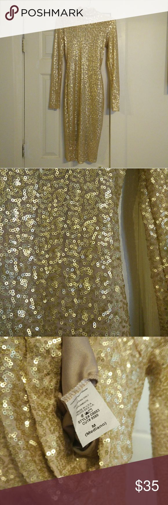 Gold sequin dress Long sleeve, turtleneck dress, long length. This fits to your body snug, it is not loose. Never worn but loved it, just needed it for one event that ended up being cancelled. Love Culture Dresses Midi