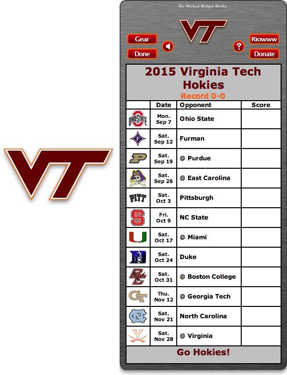 Free 2015 Virginia Tech Hokies Football Schedule Widget - Go Hokies!  http://riowww.com/teamPages/Virginia_Tech_Hokies.htm