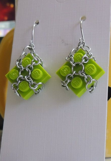 Lime Lego Dangle Earrings with Aluminium by StarTideDesigns, $25.00