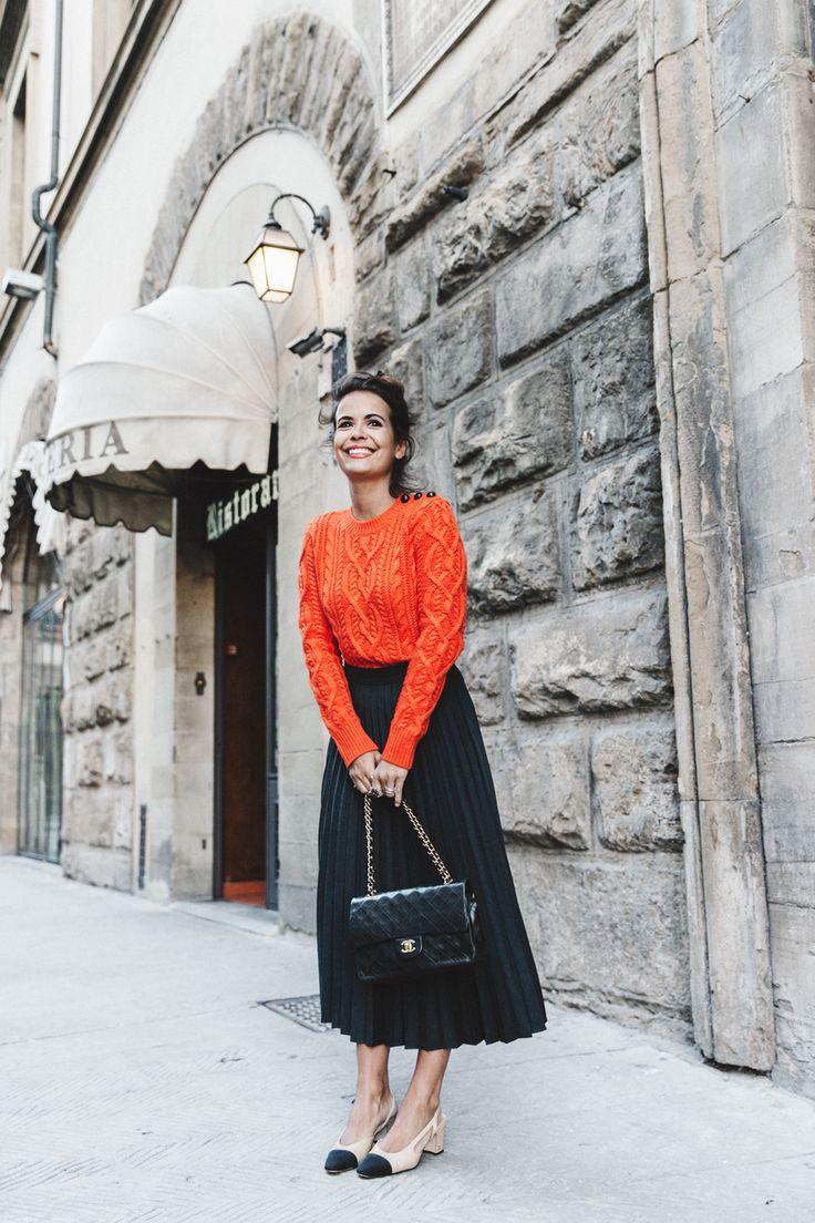 orange sweater + black midi skirt + black Chanel purse + cream and black slingback heels