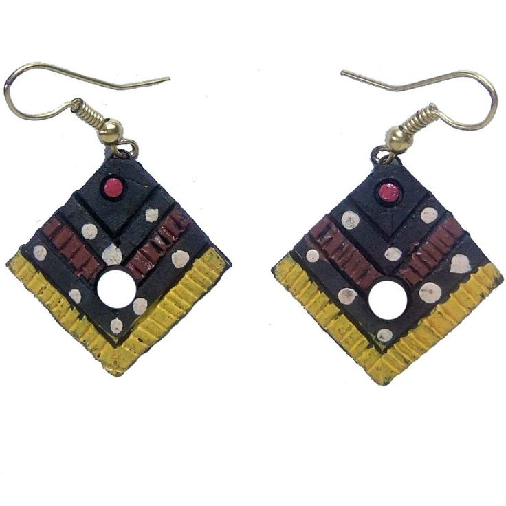 Clay Jewelry from Krishnanagar Handicraft Product New Design Stylish - Square shape Burnt Clay - Water-proof colour