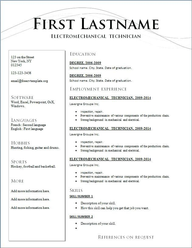 Chronological Resume Template Download Free Templates Cover Letter