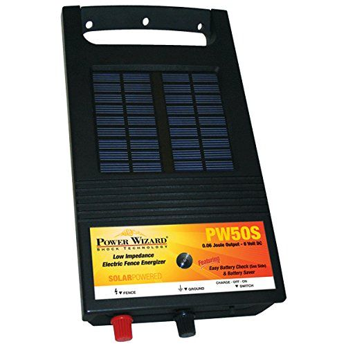 PW50S ENERGIZER 6V SOLAR .06J &. Power Wizard PW50S solar-powered, low impedance electric fence energizer controls 1-3 acres or 1-5 miles of fence wire. The PW 50S solar fence energizer is recommended for small animals with limited use for cattle and horses. 6 V battery included and installed; 0.06 joule output. Features easy battery check, which allows you to determine the battery voltage within 15 seconds of turning on energizer, and battery saver, which senses low battery voltage and...