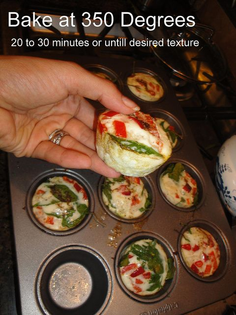 """Egg White and Vegetable """"Muffins"""" I just made these this morning but I added a little cheese and they were delicious!!"""