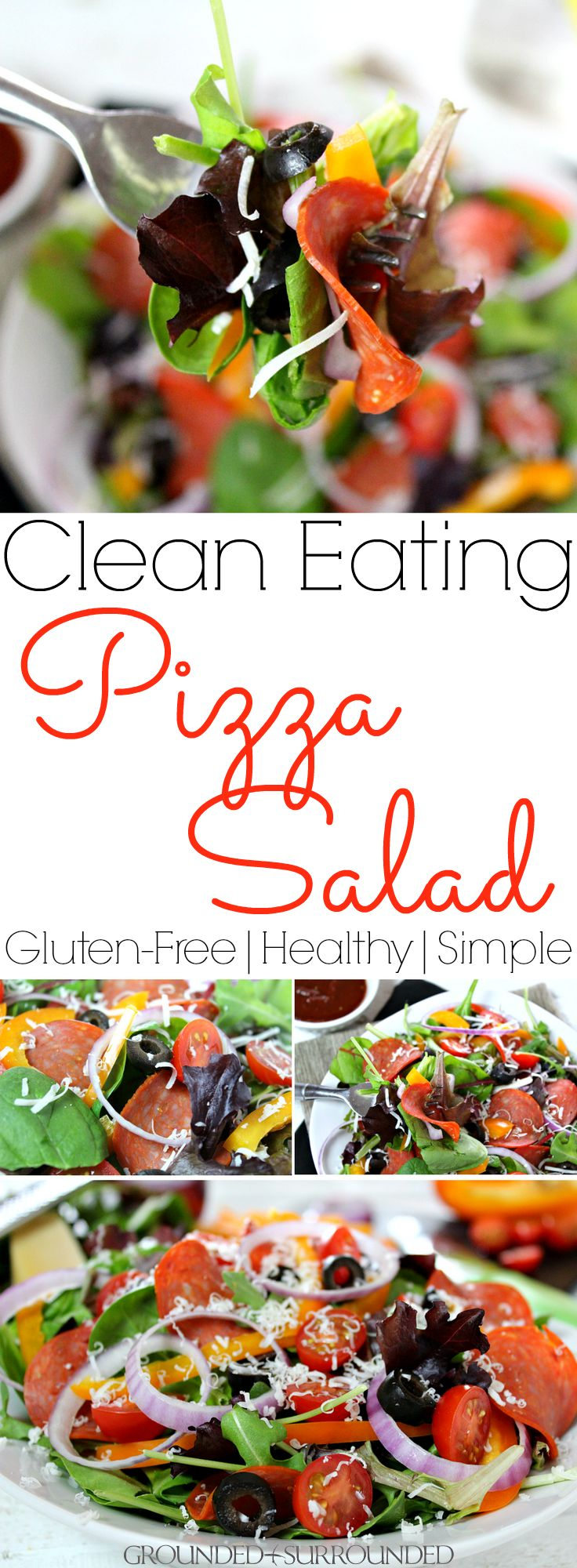 The BEST Clean Eating Pizza Salad | This is one of my favorite healthy and low carb lunch ideas! It is a delicious gluten free recipe complete with turkey pepperoni for protein, homemade tomato-based dressing, shredded Parmesan cheese, and veggies. Meals like this are great for one or families. Just pile high the toppings on a whole bag of greens and triple the sauce! Give this easy and flavorful salad a try if you are in a food rut!