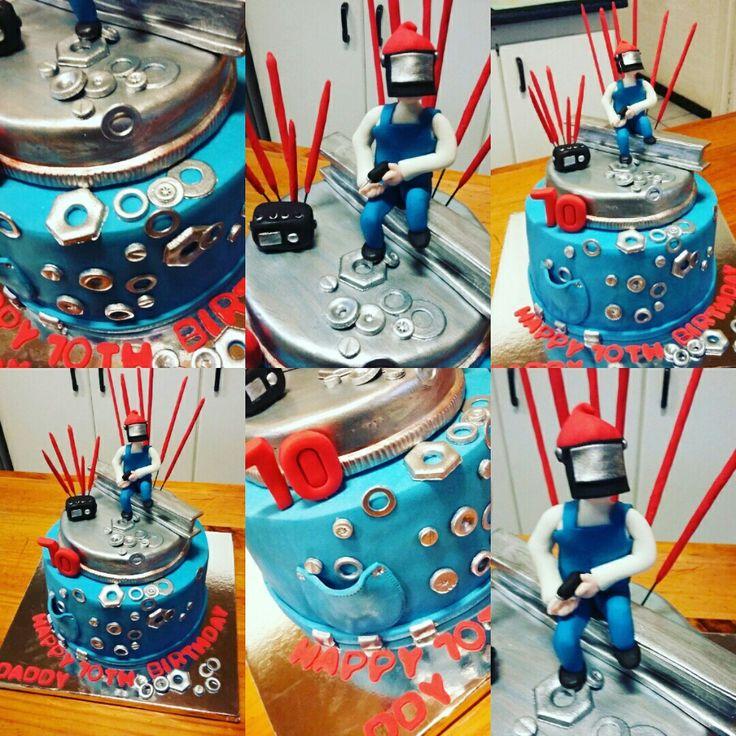 Wellding man topper birthday cake ironman