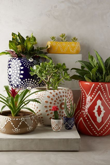 boho bohemian chic home space interiors plants pottery