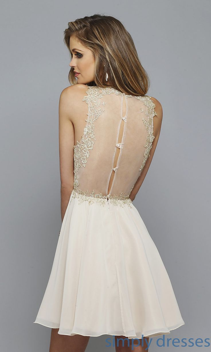 Shop embroidered lace designer special occasion dresses at Simply Dresses. High neckline short sweetheart dresses with lace appliques.