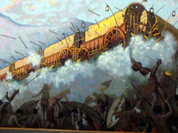 Mural at Voortrekker Monument, Pretoria. The Battle of Blood River - Die Slag van Bloedrivier