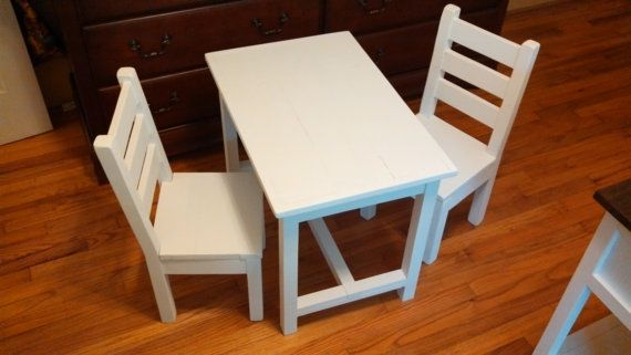 Painted Kids Table And Chair Set. Childu0027s Childrenu0027s Furniture , Reclaimed  , Rustic , Wood , Pine , Diy Homemade , Unfinished , Cabinet , Cupboard U2026