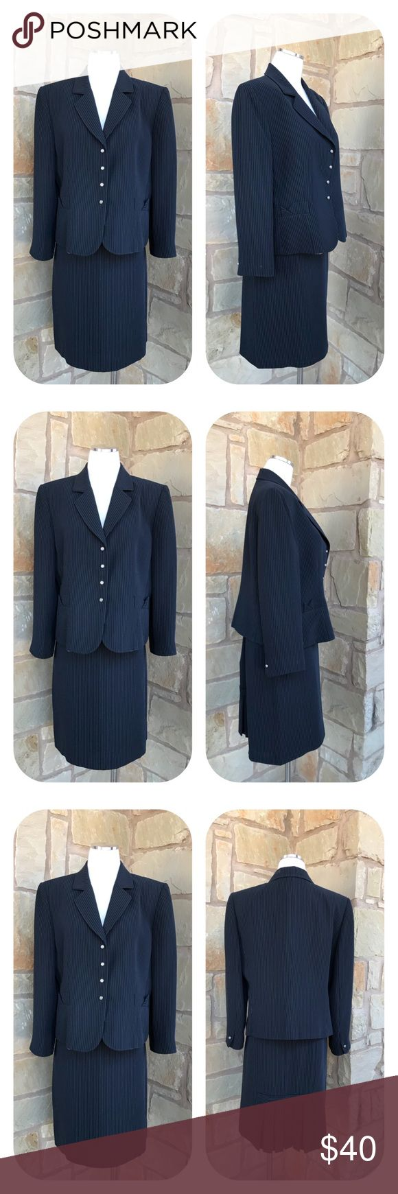 """Tahari ASL Pinstripe 2 Piece Skirt Suit Size 16 P Tahari ASL Pinstripe 2 Piece Skirt Suit  Size 16 Petite  -  Two Piece Suit -  Color: Black, Gray -  Fully Lined -  Blazer 98% Polyester 2% Rayon Three Button Closure Two Mock Pockets     Armpit to armpit 22.5""""     Armpit to end of sleeve 14.5""""     Shoulder to hem 23"""" -  Skirt 98% Polyester 2% Rayon Back Zipper      Waist 17.5""""      Length 21""""  Thanks for visiting! 💕 Tahari Skirts Skirt Sets"""